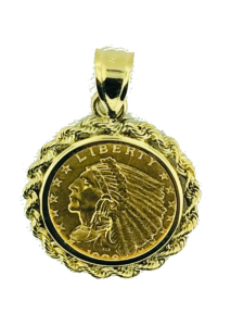 gold liberty coin in a bezel