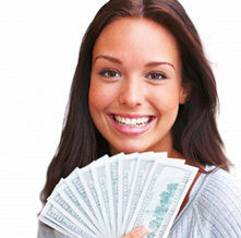 Woman holding cash for gold