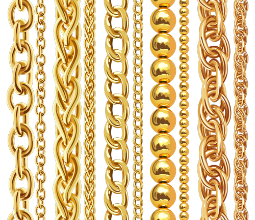 vector art of gold chains, necklaces and bracelets