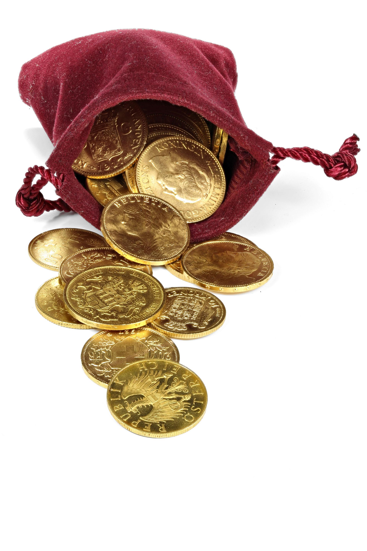 burgundy bag of gold coins