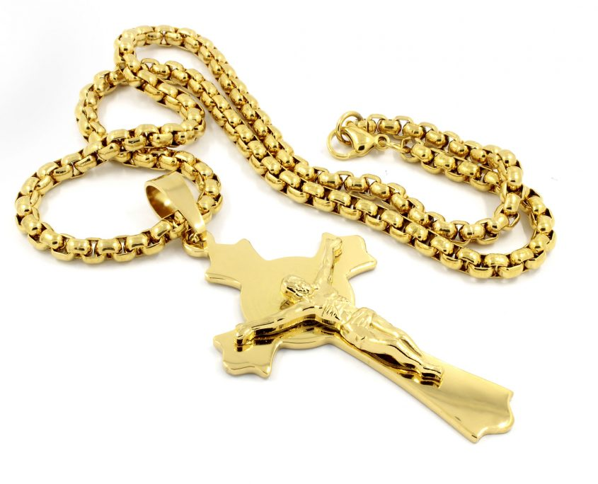Gold necklace with Jesus Christ on the cross