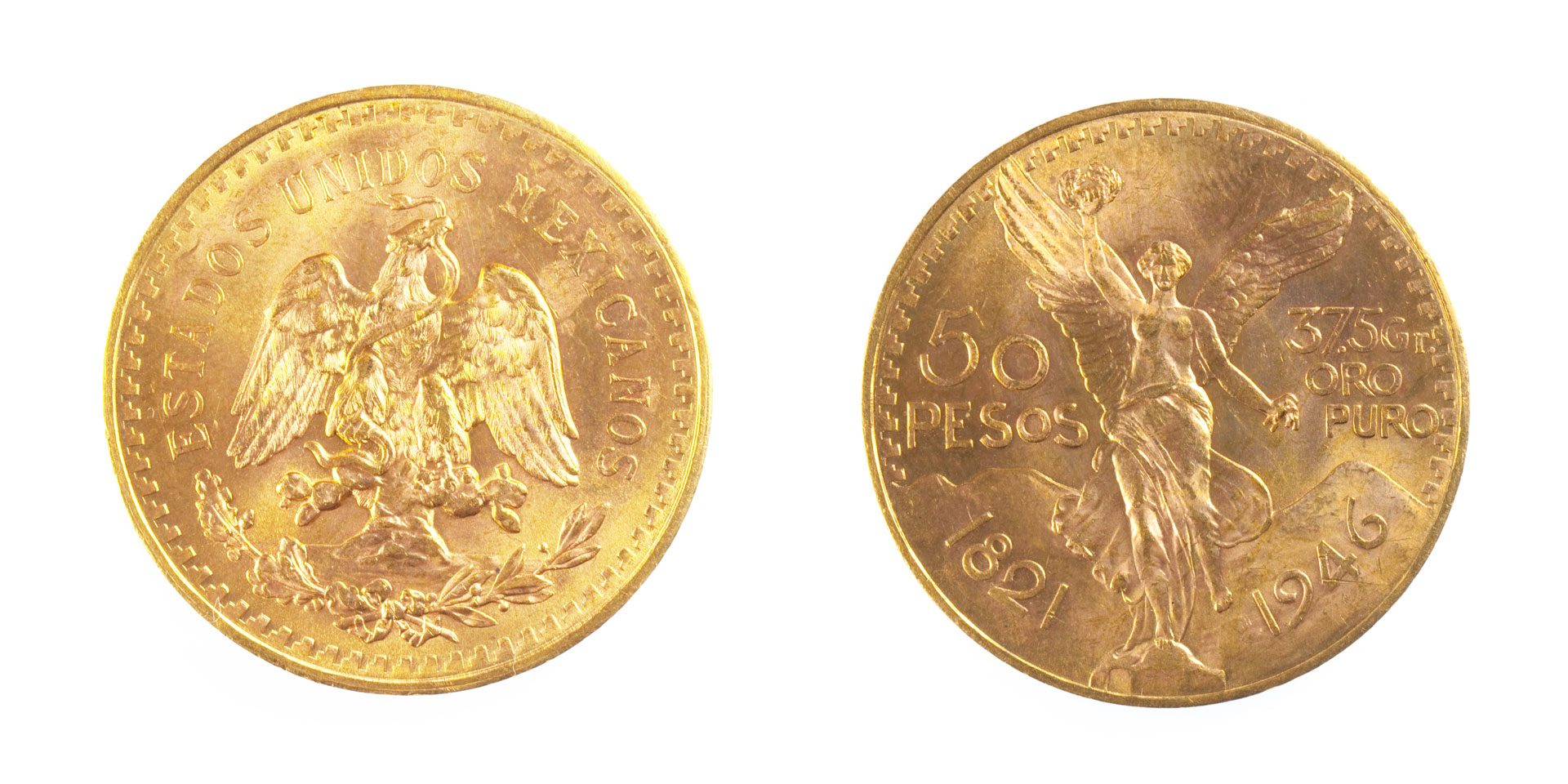 50 pesos Mexican gold coin, front and back