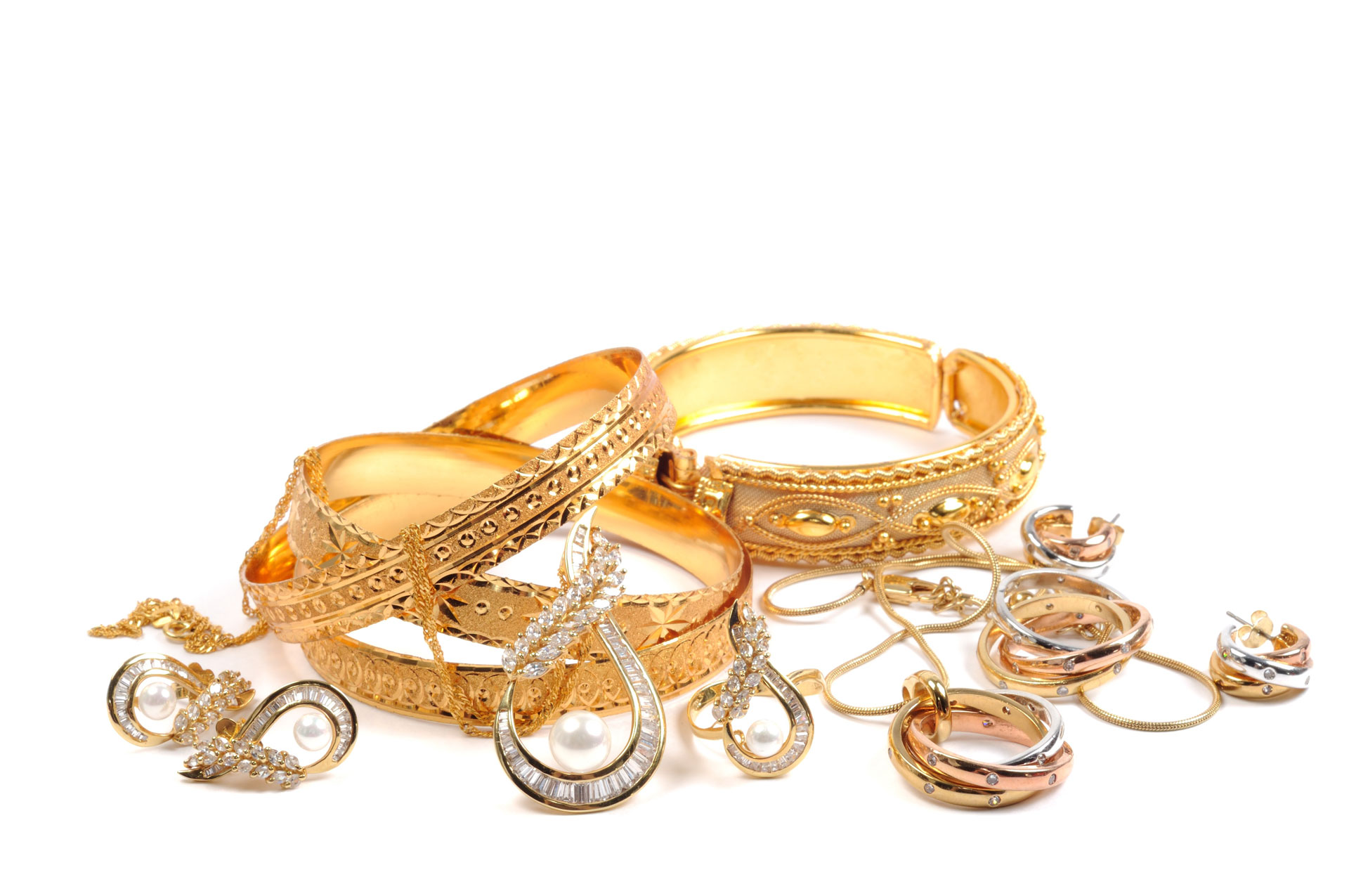 Mixture of gold and diamond jewelry