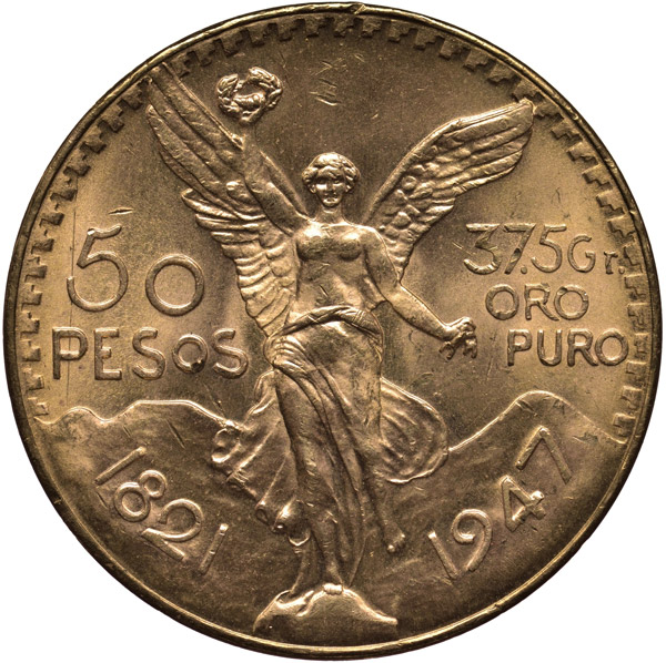 50 pesos mexico gold coin front